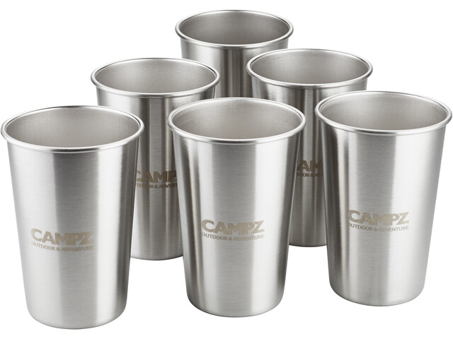 CAMPZ Stacking Cup Set Stainless Steel 6-Pieces silver